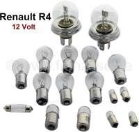 R4, Glühlampenset Bilux. 12 Volt. Passend für Renault R4 (R1120, R1123, R1126, R2105, R2106, R2109, R2391, R2392). Bestehend aus: 2x 14031 Hauptscheinwerfer Bilux! 6x 14035 Blinker vorne - hinten, Rückfahrscheinwerfer. 2x 14037 Brems- Rücklicht. 1x 14066 Kennzeichenleuchte wahlweise. 1x 14364 Kennzeichenleuchte wahlweise. 2x 14070 Seitenleuchte. 2x 14034 Seitenleuchte, auch Innenleuchte. 1x 14038 Innenleuchte | 85423 | Der Franzose - www.franzose.de