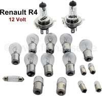 R4, Glühlampenset H4. 12 Volt. Passend für Renault R4 (R1120, R1123, R1126, R2105, R2106, R2109, R2391, R2392). Bestehend aus: 2x 14030 Hauptscheinwerfer H4! 6x 14035 Blinker vorne - hinten, Rückfahrscheinwerfer. 2x 14037 Brems- Rücklicht. 1x 14066 Kennzeichenleuchte wahlweise. 1x 14364 Kennzeichenleuchte wahlweise. 2x 14070 Seitenleuchte. 2x 14034 Seitenleuchte, auch Innenleuchte. 1x 14038 Innenleuchte - 85424 - Der Franzose