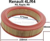 Luftfilter - Einsatz (A960). Passend für Renault R4, Rapid, R5, R9. Aussendurchmesser: 230mm. Innendurchmesser: 171mm. Höhe: 55mm. - 82538 - Der Franzose