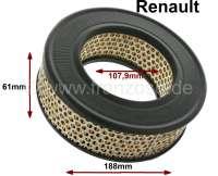 Luftfilter - Einsatz. Passend für Renault R4 F4, von Baujahr 08/1971 bis 11/1981. R4 Rodeo (845cc). Außendurchmesser: 188mm. Innendurchmesser: 107,9mm. Höhe: 61,2mm. - 82284 - Der Franzose
