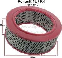 Luftfilter Einsatz. Passend für Renault R4, R8, R10. Aussendurchmesser: 212mm. Innendurchmesser: 142mm. Höhe: 78mm. | 82919 | Der Franzose - www.franzose.de
