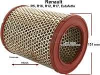 Luftfilter. Passend für Renault R5, Estafette, R16, R12, R17. Alpine 1600. Höhe: 175mm. Innendurchmesser: 89mm. Außendurchmesser: 131mm. - 82225 - Der Franzose