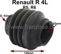 Antriebswellenmanschette, getriebeseitig. Passend für Renault R4, R5, R6. Innendurchmesser beidseitig: 53mm. Gesamtlänge: 125mm. | 83059 | Der Franzose - www.franzose.de