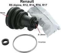 Antriebswellenmanschette, radseitig (mit Schellen und Fett). Passend für Renault R5 1,4 Alpine, R12, R14, R16, R17, R18, R20. Durchmesser innen: 20 + 76mm. Or. Nr. 7701457539 - 83216 - Der Franzose