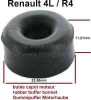 R4, Motorhaube: Gummipuffer für die Motorhaube. Passend für Renault R4. Durchmesser: 22,58mm. Höhe: 11,21mm. Befestigungsloch mittig: 5,0mm. - 87895 - Der Franzose