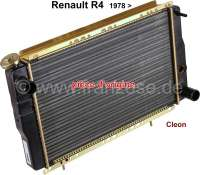 R4/R5, Kühler (Original Hersteller), passend für Renault R4, ab Baujahr 1978. Motoren: 947ccm + 1108ccm, Type Cleon. Renault R5. Der Kühler ist direkt hinter dem Kühlergrill montiert. Tiefe: 34mm. Breite: 440mm. Höhe: 278mm.  Schlauchstutzen 2x 32 mm. - 82064 - Der Franzose