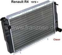 R4/R5, Kühler (Nachbau) Renault Renault R4 ab 1978, bei Motoren mit 947ccm + 1108ccm, Type Cleon. Der Kühler ist direkt hinter dem Kühlergrill montiert.  Tiefe 34mm, Breite 440mm, Höhe 278mm.Schlauchstutzen 2x 32 mm. - 82159 - Der Franzose