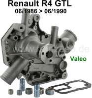 R4 GTL, Wasserpumpe Renault R4 GTL (1108ccm), R112. Ab Baujahr 06/1986 bis 06/1990. Ohne Riemenscheibe, incl. Dichtung. Orignal von Valeo! Kein Nachbau. - 82067 - Der Franzose