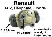 4CV/Dauphine/Floride, Radbremszylinder hinten rechts. Passend für Renault 4CV, Dauphine + Floride. Kolbendurchmesser: 20,6 mm. Ankerplattenbohrung: 32 mm. Bremsleitungsanschluss: 3/8x24UNF. Länge über alles: 60 mm. Made in France | 80022 | Der Franzose - www.franzose.de