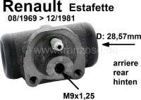 Estafette, Radbremszylinder hinten (links + rechts passend). Kolbendurchmesser: 28,57mm. Passend für Renault Estafette, von Baujahr 08/1969 bis 12/1981. Bremsleitungsanschluß: M9 x 1,25. | 84304 | Der Franzose - www.franzose.de