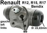 R12/R15/R17, Radbremszylinder hinten links. System Bendix. Passend für Renault R12 (1,3 + 1,4). R15 (1,3). R17 (1,6). Kolbendurchmesser: 22mm.  Ankerplattenbohrung: 32 mm. Bremsleitungsanschluss: 9 mm. Länge über alles: 62 mm | 82210 | Der Franzose - www.franzose.de