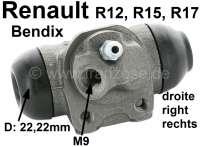 R12/R15/R17, Radbremszylinder hinten rechts. System Bendix. Passend für Renault R12 (1,3 + 1,4). R15 (1,3). R17 (1,6). Kolbendurchmesser: 22mm.  Ankerplattenbohrung: 32 mm. Bremsleitungsanschluss: 9 mm. Länge über alles: 62 mm | 82211 | Der Franzose - www.franzose.de