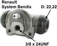 R16/Estafette/R15, Radbremszylinder hinten, links + rechts passend. Bremssystem Bendix. Passend für Renault R16, Estafette, R15 TS, R12 Break, R17TL/TS. Kolbendurchmesser: 22mm. Bremsleitungsanschluss: 3/8x24UNF. Ankerplattenbohrung: 36mm. Länge über alles: 62mm. Made in Europe. - 84159 - Der Franzose