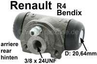 R4, Radbremszylinder hinten. Links + rechts passend. Bremssystem: Bendix. Passend für Renault R4 (R1123 von 10/1962 bis 12/1988, R1128/2391/2106/2370 von 1978 bis 1990). Kolbendurchmesser: 20,64mm. Bremsleitungsanschluß: 3/8 x 24UNF. Ankerplattenbohrung: 31 mm. Länge über alles: 62 mm. - 84081 - Der Franzose