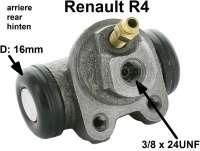 R4, Radbremszylinder hinten. Links + rechts passend. Passend für Renault R4. Kolbendurchmesser: 16mm. Bremsleitungsanschluss: 3/8 x 24UNF. Ankerplattenbohrung: 32mm. Länge über alles: 61mm. - 84205 - Der Franzose