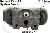 R4/R5, Radbremszylinder hinten. Links + rechts passend. Bremssystem: Bendix. Passend für Renault R4 (R1128 ab 07/1982, R112C ab 7/1986, R2340 + 2430 ab 10/1977). Renault R5 TL, TS, GTL, LS, Alpine. Renault R6. Kolbendurchmesser: 22,2mm . Bremsleitungsanschluss: 3/8 x 24UNF. Ankerplattenbohrung: 32mm. Länge: 59mm. Made in Europe. - 84080 - Der Franzose