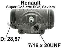 SG2, Radbremszylinder hinten links. Passend für Renault SG2 (Renault Super Goélette SG2, Saviem), von Baujahr 1965 bis Ende der Serie. Kolbendurchmesser: 28,57mm. Baulänge 78mm. Bremsleitungsanschluß: 7/16 x 24 UNF. Made in France - 84368 - Der Franzose