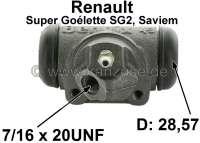 SG2, Radbremszylinder hinten rechts. Passend für Renault SG2 (Renault Super Goélette SG2, Saviem), von Baujahr 1965 bis Ende der Serie. Kolbendurchmesser: 28,57mm. Baulänge 78 mm. Bremsleitungsanschluß: 7/16 x 24 UNF. Made in France - 84369 - Der Franzose