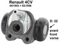 4CV, Radbremszylinder vorne. Passend für Renault 4CV, von Baujahr 04/1953 bis 02/1956. Kolbendurchmesser: 22 mm. Ankerplattenbohrung: 32mm. Leitungsanschluss: 9 mm. Länge über alles: 54 mm. Made in France - 80018 - Der Franzose