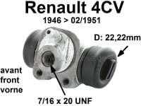 4CV, Radbremszylinder vorne. Passend für Renault 4CV, von Baujahr 1946 bis 02/1951. Kolbendurchmesser: 22 mm. Ankerplattenbohrung: 32 mm. Bremsleitungsanschluss: 7/16 x 20UNF. Länge über alles: 54 mm. Made in France - 80019 - Der Franzose