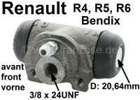 R4, Radbremszylinder vorne. Links + rechts passend. Bremssystem: Bendix. Passend für Renault R4, bis Baujahr 06/1986. Renault R5, R6. Kolbendurchmesser: 20,64mm. Bremsleitungsanschluss: 3/8 x 24UNF. Ankerplattenbohrung: 31 mm. Länge über alles: 56 mm. Made in Europe. - 84127 - Der Franzose