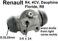 R4/Heckmotor, Radbremszylinder vorne rechts. Passend für Renault R4, sechziger Jahre. Renault 4CV, Dauphine, Floride, R8. Kolbendurchmesser: 22,2mm. Bremsleitungsanschluß: 3/8 x 24. Ankerplattenbohrung: 32mm. Länge über alles: 60mm. Made in Spain. - 84149 - Der Franzose