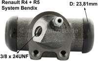 R4/R5, Radbremszylinder, vorne rechts. Bremssystem: Bendix. Passend für  Renault R4 (R1123, R1126, R1129), von Baujahr 7/1966 bis 1985. R4 Fougnette, von Baujahr 7/1966 bis 1986. Renault R5, von Baujahr 1972 bis 1984. Kolbendurchmesser: 23,8mm. Bremsleitungsanschluss: 3/8 x 24UNF. Ankerplattenbohrung: 32mm. Länge über alles: 73mm. Made in Europe. - 84126 - Der Franzose