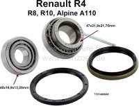 Radlagersatz hinten. Passend für Renault R4, R8, R10, Alpine 110.  Lager 1: Außendurchmesser: 47mm. Innendurchmesser: 21,9mm. Breite: 21,75mm. Lager 2: Außendurchmesser: 40mm. Innendurchmesser: 16,9mm. Breite: 13,25mm. Achtung: Dieser Radlagersatz wird mit großen Dichtring geliefert, der das Lager von hinten zur Bremstrommel abdichtet. Abmessung des Dichtringes: 48 x 58 x 4. - 83001 - Der Franzose