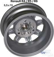 Felge Minilite Design. Größe: 5,5 x 13. Lochkreis: 3 x 130. Diese Felge im Minilite Design, passt auf Vorder- und Hinterachse. Nabenkappe wird mitgeliefert. Karosseriemodifikationen nicht nötig. Die Felge wird mit Teilegutachten für den Renault R4 + R4F4/F6 (ABE/EWG 3774) , R6 (ABE/EWG 7047) und alle R5 + R5 Alpine Modelle geliefert. Reifenempfehlung: 155/70-13. Bei dem Renault R4 mit Girling Bremssattel, muss unbedingt auf die Freigängigkeit zur Felge geachtet werden (oder auf Bendix umgebaut werden) -2 - 83413 - Der Franzose