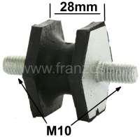 Gummi-Silenthalter M10. Höhe: 28mm. Große Ausführung für den Endschalldämpfer. Passend für Renault R4, R12, R16, R17. - 82021 - Der Franzose