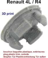 R4 GTL, Stopfen für die graue Plastikverkleidung außen an den Türen. Farbe: grau. Per Stück. Herstellung in 3D Druck. - 87900 - Der Franzose