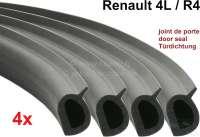 R4, Türdichtung Satz (4 Stück), Made in Germany. Länge: 370cm. Passend für Renault R4 (S128, 112C, 1123, 1128). Für jeweils 2 Türen vorne und 2 Türen hinten). Wir haben das Türdichtungsprofil anhand von unbenutzten, originalen Renault Türdichtungen in Deutschland nachbauen lassen. Es entspricht der letzten Ausführung aus Mossgummi mit Fähnchen (das Fähnchen ist gegen Windgeräuche). Komplette Fertigung in Deutschland. Qualität: EPDM, Dichte wie Original 0,75g/cm³. Nach DIN ISO 3302-1 E3 L3. Or. Nr. Renault: 7700635342 -1 - 87636 - Der Franzose
