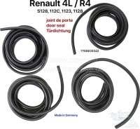R4, Türdichtung Satz (4 Stück), Made in Germany. Länge: 370cm. Passend für Renault R4 (S128, 112C, 1123, 1128). Für jeweils 2 Türen vorne und 2 Türen hinten). Wir haben das Türdichtungsprofil anhand von unbenutzten, originalen Renault Türdichtungen in Deutschland nachbauen lassen. Es entspricht der letzten Ausführung aus Mossgummi mit Fähnchen (das Fähnchen ist gegen Windgeräuche). Komplette Fertigung in Deutschland. Qualität: EPDM, Dichte wie Original 0,75g/cm³. Nach DIN ISO 3302-1 E3 L3. Or. Nr. Renault: 7700635342 - 87636 - Der Franzose