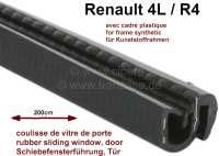 R4, Schiebefensterführung, passend für Renault R4, mit Kunststoffrahmen! Länge: 200cm. Breite U-Profil: 13,5mm. Höhe U-Profil: 14mm. Breite über alles (mit Dichtlippe) 20,0mm. Höhe über alles (mit Dichtlippe): 16,7mm. - 87899 - Der Franzose