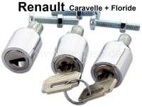 Caravelle/Floride, Schließzylinder (3 Stück) mit 2x Schlüssel. Passend für Renault Caravelle + Floride. Tür vorne links + rechts passend + Kofferraum. Per Satz. Die Schließzylinder sind ein Nachbau! - 87785 - Der Franzose