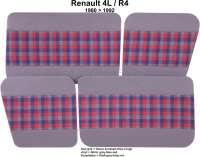 R4, Türverkleidung (4 Stück), aus Kunstleder + Stoff. Farbe: grau-blau-rot. Passend für Renault R4, ab Baujahr 1980
