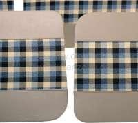 R4, Türverkleidung (4 Stück), aus Kunstleder + Stoff. Farbe: beige-kariert. Passend für Renault R4, ab Baujahr 1980 -1 - 88025 - Der Franzose