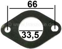 Vergaser Distanzplatte. Passend für Renault R4, R5, R12, R16, R15, R16. Innendurchmesser: 33,5mm. Lochabstand Verschraubung: 66,0mm. Materialdicke: 4,0mm. - 82149 - Der Franzose