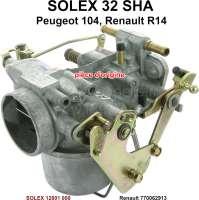 P 104/R14, Vergaser SOLEX 32SHA (kein Nachbau). Vergaser Durchmesser: 32mm. Passend für Peugeot 104 + Renault R14. Original SOLEX Vergaser, kein Nachbau. Or. Nr. Solex: 12801 000 - 71399 - Der Franzose