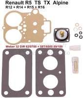 Vergaser Reparatursatz Weber 32 DIR 62/9700 + 58T/8500 89/100. Passend für Renault R5 TS-TX-Alpine (1387ccm). Renault R12, R14, R15, R16. - 82877 - Der Franzose