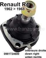 R4, Trag - Führungsgelenk unten rechts. Passend für Renault R4, von Baujahr  1962 bis 1968. Or. Nr. 0981724600. Made in Italy. Gewindemaß: M12. Der Konus verjüngt sich von 12,5 auf 14mm. Baulänge bis Innenseite der Anschraubeflache: 47mm. Baulänge bis Außenseite Anschraubfläche: 52mm. - 83158 - Der Franzose