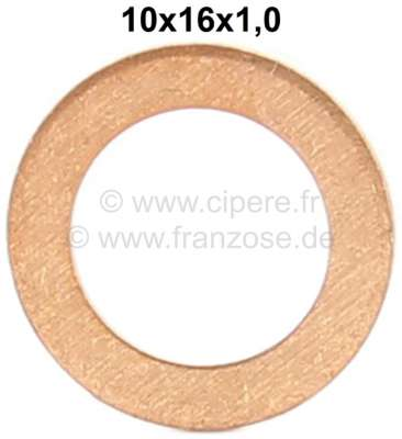 Citroen-2CV Brake hose copper sealing ring. Dimension: 10 x 16 x 1mm.