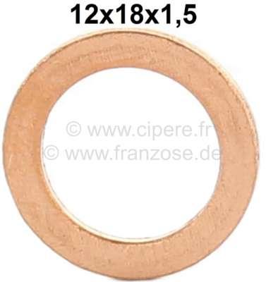 Citroen-2CV Brake hose copper sealing ring. Dimension: 12 x 18 x 1,5mm.