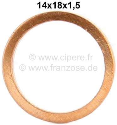 Citroen-2CV Brake hose copper sealing ring. Dimension: 14 x 18 x 1,5mm.