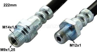 Citroen-2CV Brake hose in front, suitable for Citroen Dyane 6, Mehari. Length: 222mm. One side male th