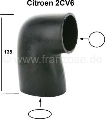 Citroen-2CV Rubber hose for 2CV6, between carburetor + air filter (oval carburetor). By tears in the r