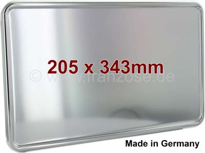 Peugeot License plate handle rear, made of metal, anodizes. For license plate 205x343mm. Suitable