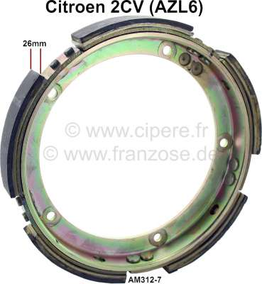 Citroen-2CV Centrifugal clutch ring with friction linings. Lining-wide 26mm. Suitable for Citroen 2CV6
