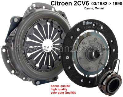 Citroen-2CV Clutch completely, for Citroen 2CV6, of year of construction 03/1982 to 1990 (disc brake i