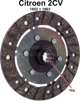 Citroen-2CV Clutch disk for 2CV, of year of construction 1952 to 1963. 10 teeth, inside diameters: 20/